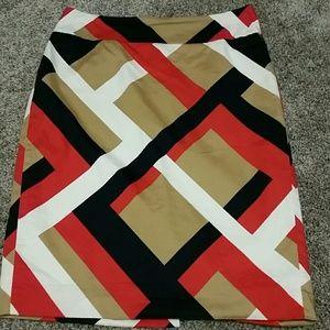 Ann Taylor Geometric Stripe Pencil Skirt